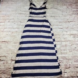 Striped Blue Cream Maxi Dress Backless Vacation S